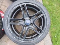 "4 x 16"" Ford Fiesta KA Focus Zetec S alloy wheels black & NEW tyres 205/45/ZR16 Ecoboost"