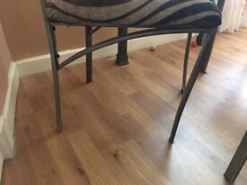 Solid dining glass table with 4 chairs