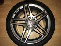 """4 genuine Mercedes Benz AMG 18"""" alloy wheels , E class 5 double spoke W212, with tyres"""