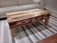 Oak Coffee Table with Decorative Frieze
