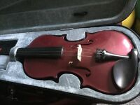 Archetto full size 4/4 violin in purple, hard case and bow great condition and great sound