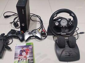 XBOX 360 slim Matte Black 2 controller, steering wheel & FIFA 16 game