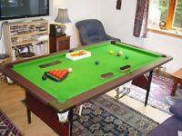 Snooker / pool / billiard table. 4 feet x 8 feet. Waterproof cover plus accessories. Full size balls