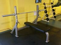 EXIGO OLYMPIC BENCH PRESS + 20Kg PHYSICAL COMPANY OLYMPIC BAR COMMERCIAL GRADE KIT £350