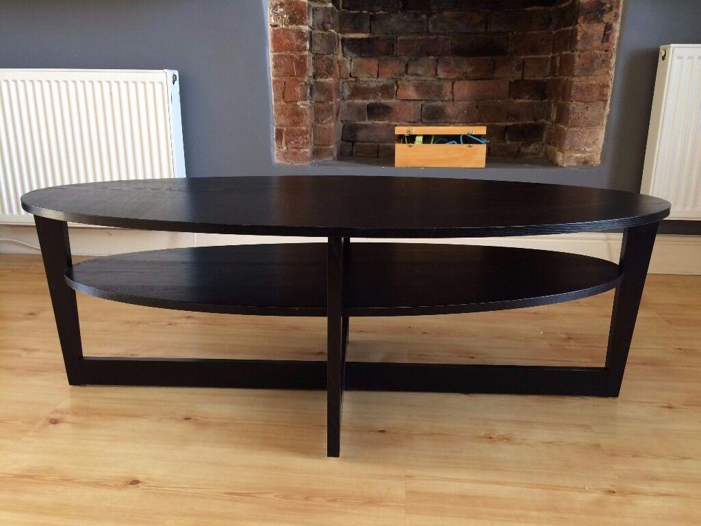 Ikea Vejmon Coffee Table Oval Shape Black Brown Drop 15