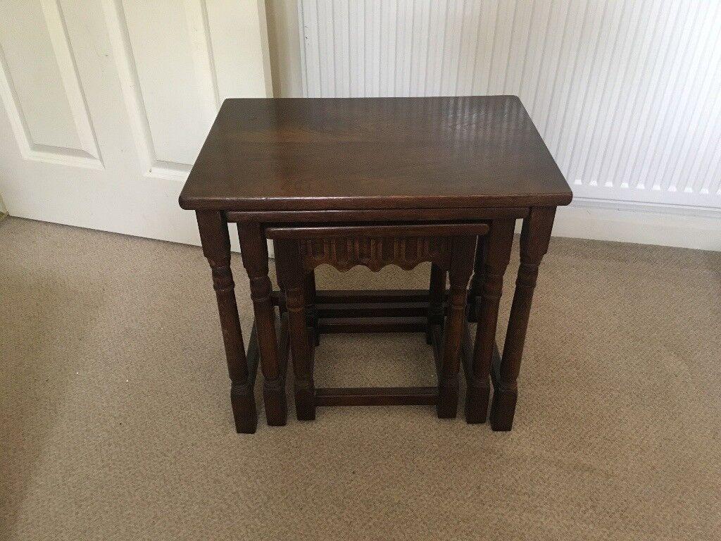 3 Piece Dark Brown Wood Side Tables 35 ONO