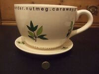 Giant herb Tea cup planter, with saucer, New