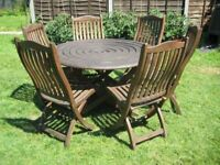 Quality Alexander Rose Mahogany Garden Table And Six Chairs.