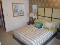 Double Bed with Headboard, matching bedside tables and mirrors, mattress - Ex showhome - Never Used