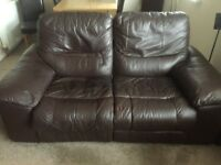 2 Brown Leather Reclining Sofas a 3 Seater and a 2 Seater