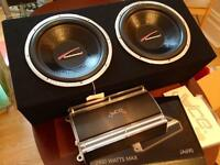 """Car speakers 1400W 12"""" subwoofers, matching base box & 2400W amplifier!"""