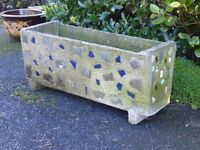 LARGE GARDEN TROUGH PLANTER MOSAIC EFFECT DETAILING TO SIDES 69cm Long