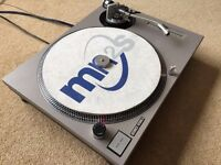 Technics SL-1200 MK2 Turntable With Custom Grey Leather Cover & Matching 45
