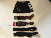 Girls hockey bundle age 7-8-9 ish adidas skort, socks shin guards, 2 sticks & bag