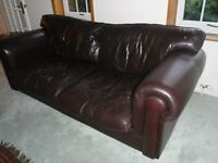Real Original Soft Ox-hide Large Leather Brown Sofa Vintage - collect from MK45