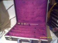 A DOUBLE CLARINET CASE for A & B flat PAIR . In V.G.C. HINGES , CATCHES & HANDLE O.K.