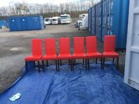 DFS EX DISPLAY SET OF 6 BLOOD RED FAUX LEATHER DINING ROOM CHAIRS RRP £449.99