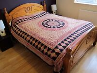 Bohemian Large Indian Bedspread / Throw / Wallhanging in Beige / Red / Black