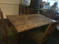 Gorgeous Large Antique Hand-Made Farmhouse Heavy Solid Oak Plank Dining Table & Matching 4 Chairs