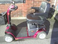 PRIDE COLT PLUS red mobility scooter, 25 stone user weight, 4 mph, disassembles