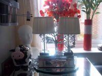 2new pyramid crystal lamps chrome base cream shades