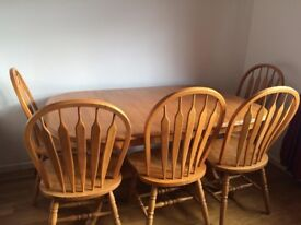 Pine dining table (extendable) & 5 chairs
