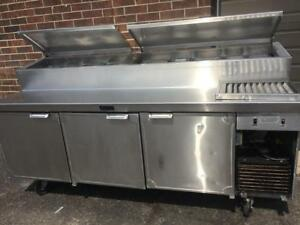 Larosa Refrigerated Pizza,Sandwiches,Salad Table with Raised Rail Top