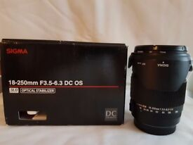 Canon Fit Sigma 18-250 F3.5-6.3 DC OS Lens hood, filter, in the original box very good condition
