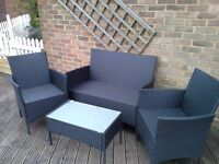 Plastic ratan garden furniture set