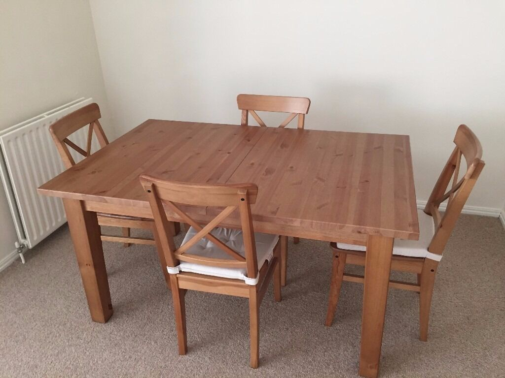 IKEA Stornas Extending Dining Table And 4 Ingolf Chairs