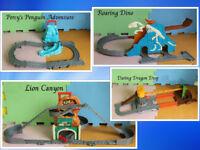 Thomas the tank playsets Lion Canyon Percy's Penguin Adventure Daring Dragon Drop Roaring Dino