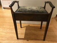 Antique mahogany piano stool or vintage dressing table seat with storage