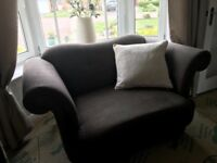 4 seater sofa, cuddler chair and pouffe