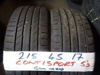 (OPEN HOL FRI 5PM)MATCHING PAIR 215 45 17 CONTIS 7MM TREAD £70 PAIR SUPP & FITD (loads more av}