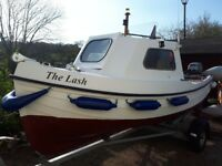 16ft cabin boat with 10hp outboard, inflatable tender with electric outboard all ready for the sea.