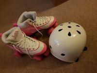 Girls Roller Skates & Helmet