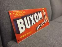 Vintage advertising metal retro sign logo brand red Buxom rare SDHC