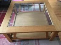 NEXT Oak and veener glass top coffee table