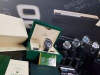 New boxed with papers set rubber bracelet black face black bezel Rolex daytona with automatic sweep