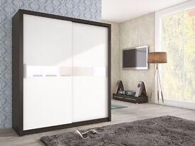 Brand NEW 2 Sliding Door Wardrobe White Black Oak With Glass Strips QUALITY!