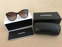 Original Chanel 5281Q Cat Eye Tortoise Sunglasses with leather Bow Detail