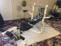 Weight lifting bench and weight set