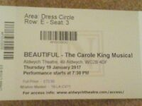 3 x tickets to see Beautiful - The Carol King Musical