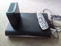 Sky+ HD box and router, remote and power cables