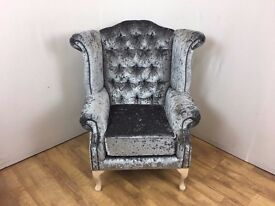 Queen Anne style chair in Pewter Crushed Velvet