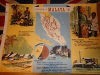 Vintage 1950's Educational Wall Poster Empire Information Project - Federation of Malaya (1)