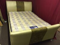 BIEGE FAUX LEATHER DOUBLE BED WITH MATTRESS,CAN DELIVER