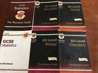 6 x CGP Revision Guide Books GCSE/AS/A2 Chemistry/Biology/Statistics