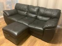 DFS Black Soft Leather 3 Seater Sofa & Storage Footrest