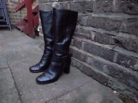 Black knee-high ladies ECCO boots - size 5 (38eu)